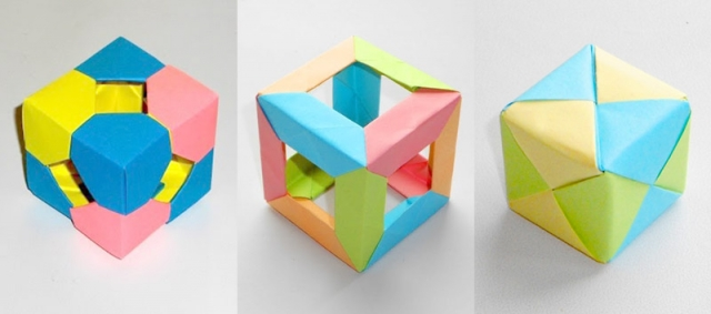 Three origami-cube made of paper